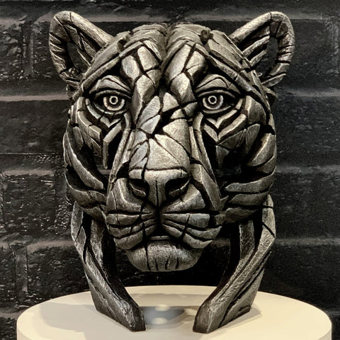 Panther Bust (limited edition) Silent Silver by Matt Buckley at Edge Sculpture