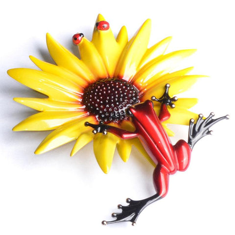 Sunflower solid bronze frog by Tim Cotterill Frogman from Artworx Gallery