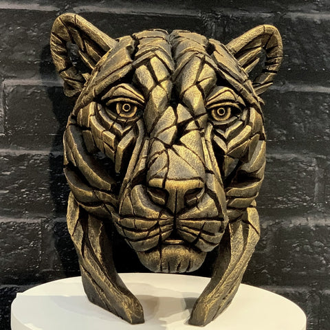 Panther Bust (limited edition) Temple Gold by Matt Buckley at Edge Sculpture