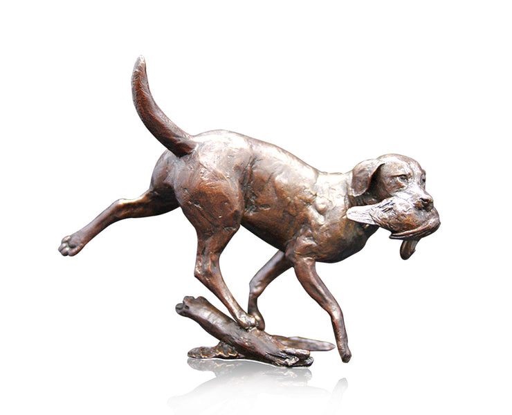 Working Labrador Solid Bronze Sculpture by Michael Simpson