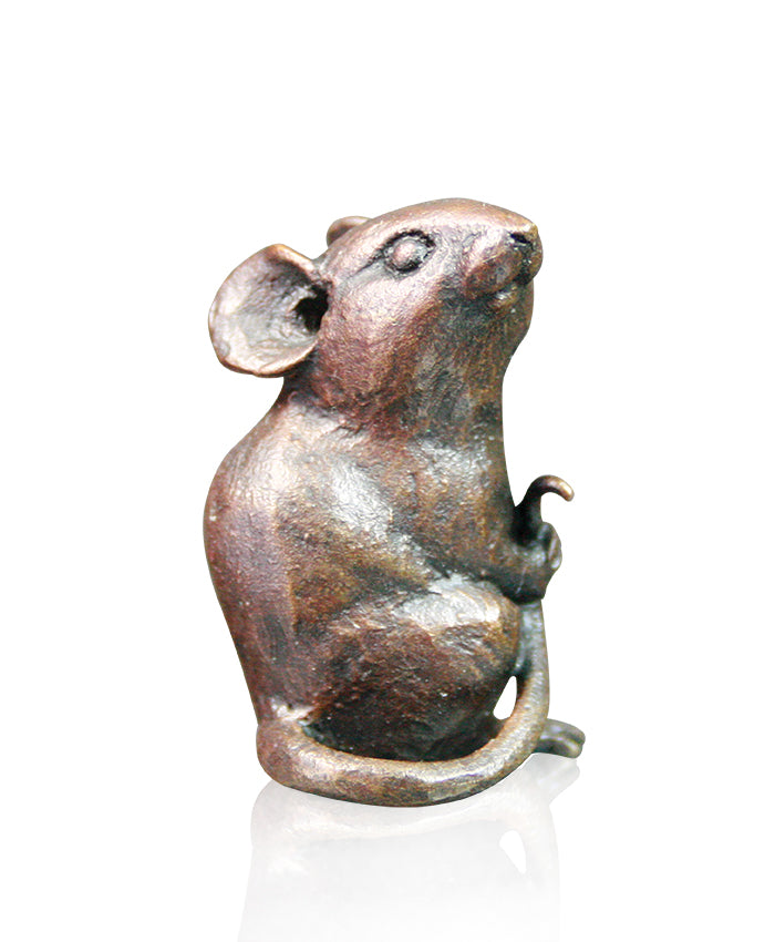Little Mouse Solid Bronze Sculpture by Michael Simpson