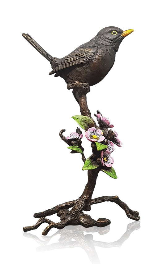 Blackbird with Blossom Solid Bronze Sculpture by Keith Sherwin