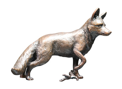 Fox Standing Solid Bronze Sculpture by Keith Sherwin