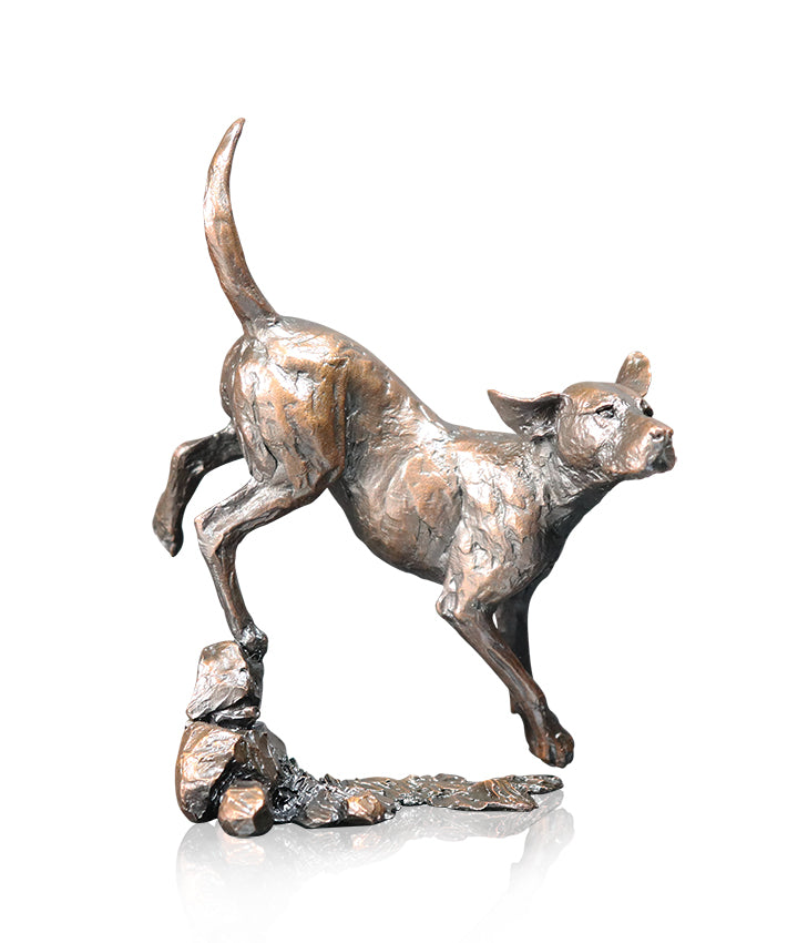 Foxhound Solid Bronze Sculpture by Michael Simpson