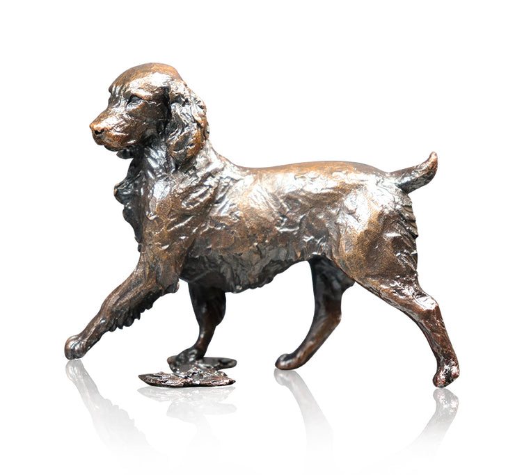 Small Springer Spaniel Solid Bronze Sculpture by Michael Simpson