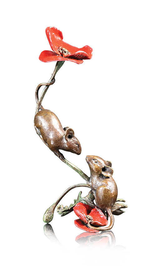 Two Mice with Poppy 1073 Solid Bronze Sculpture by Michael Simpson