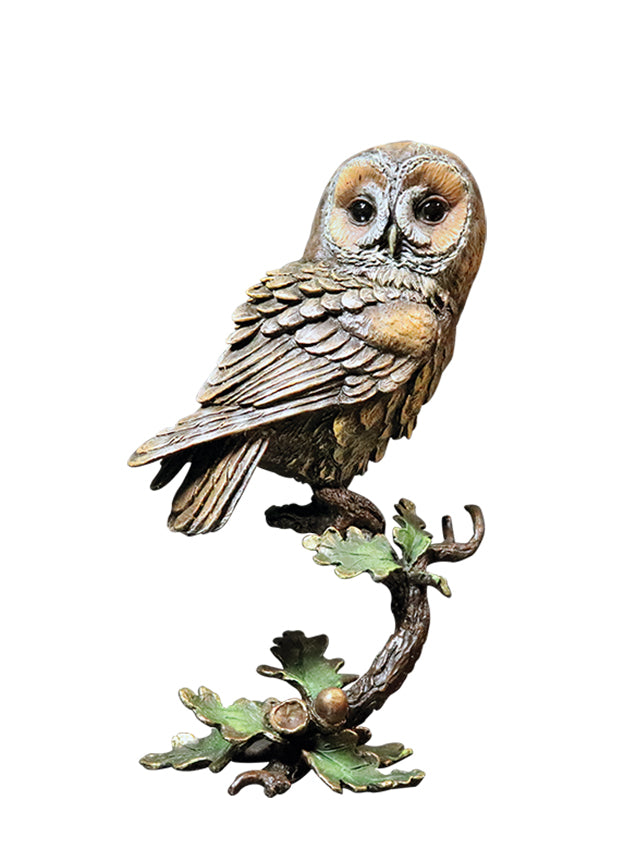 Tawny Owl with Acorns Solid Bronze Sculpture by Keith Sherwin