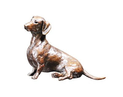 Dachshund Sitting Solid Bronze Sculpture by Michael Simpson