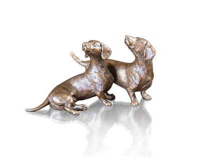 Dachshund Pair Solid Bronze Sculpture by Michael Simpson