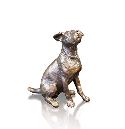 Jack Russell Sitting Solid Bronze Sculpture by Michael Simpson
