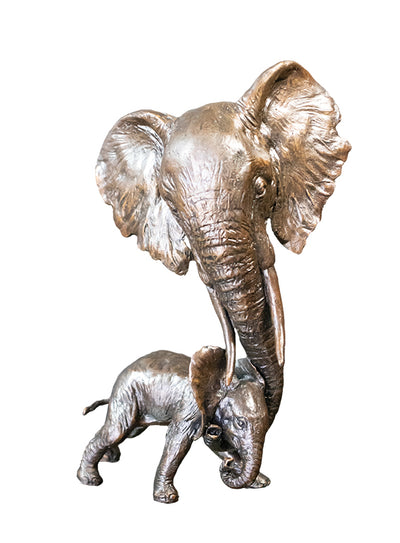 Elephant & Calf Solid Bronze Sculpture by Michael Simpson