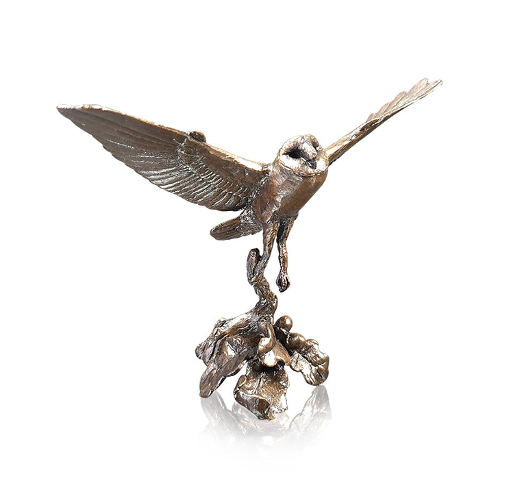 Barn Owl Flying Solid Bronze Sculpture by Michael Simpson