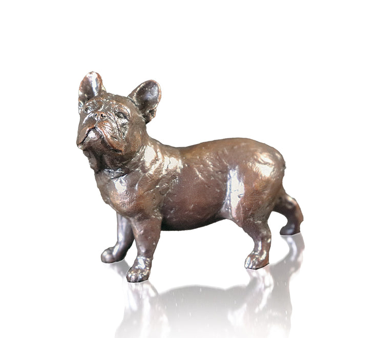 Small French Bull Dog Solid Bronze Sculpture by Michael Simpson