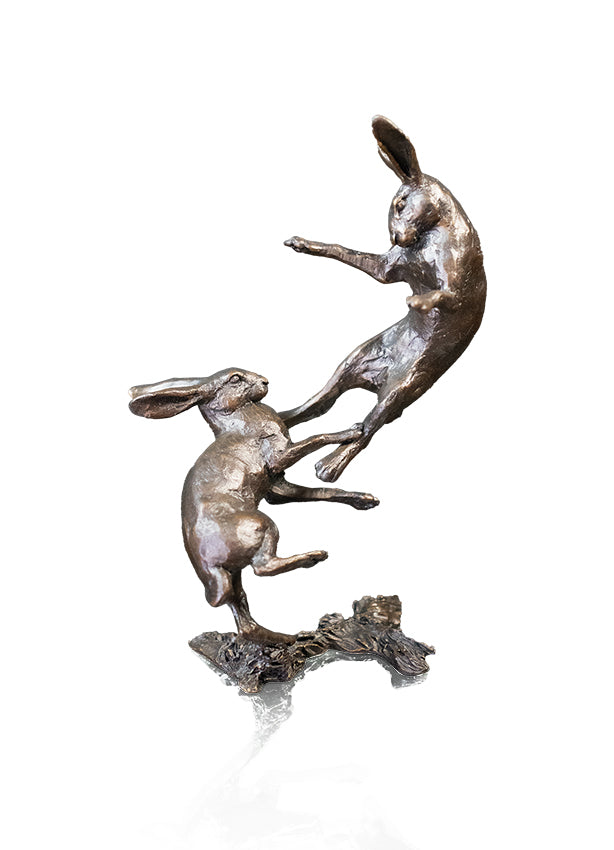 Small Hares Boxing Solid Bronze Sculpture by Michael Simpson