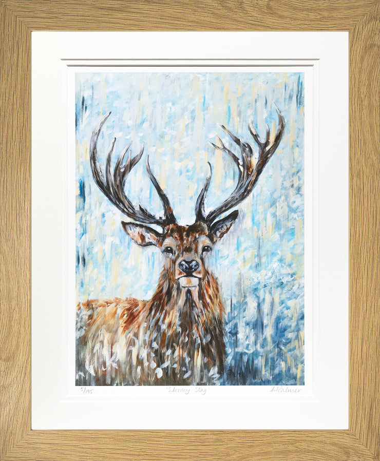 Stormy Stag Limited Edition Print by Lesley Palmer Framed Oak