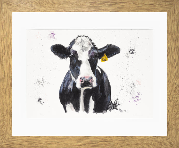 Dairy Daisy Limited Edition Print by Lesley Palmer Oak Frame