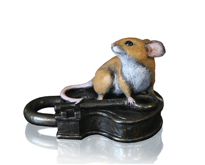 Mouse on Antique Lock Cold Cast Bronze Sculpture by Michael Simpson
