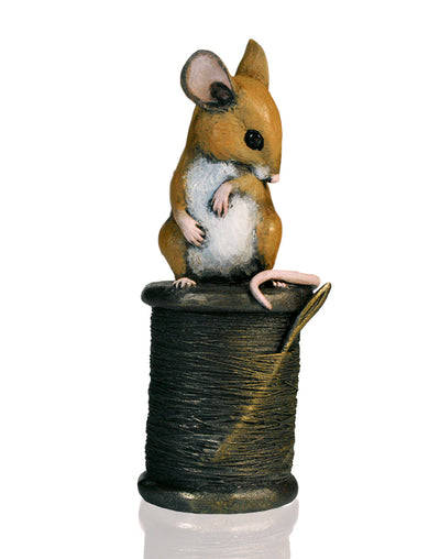 Mouse on Cotton Reel Cold Cast Bronze Sculpture by Michael Simpson