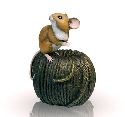 Mouse on Ball of Twine Cold Cast Bronze Sculpture by Michael Simpson