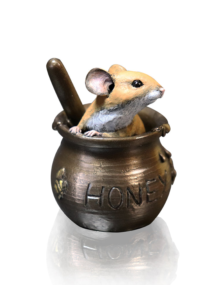 Mouse in Honey Pot Cold Cast Bronze Sculpture by Michael Simpson