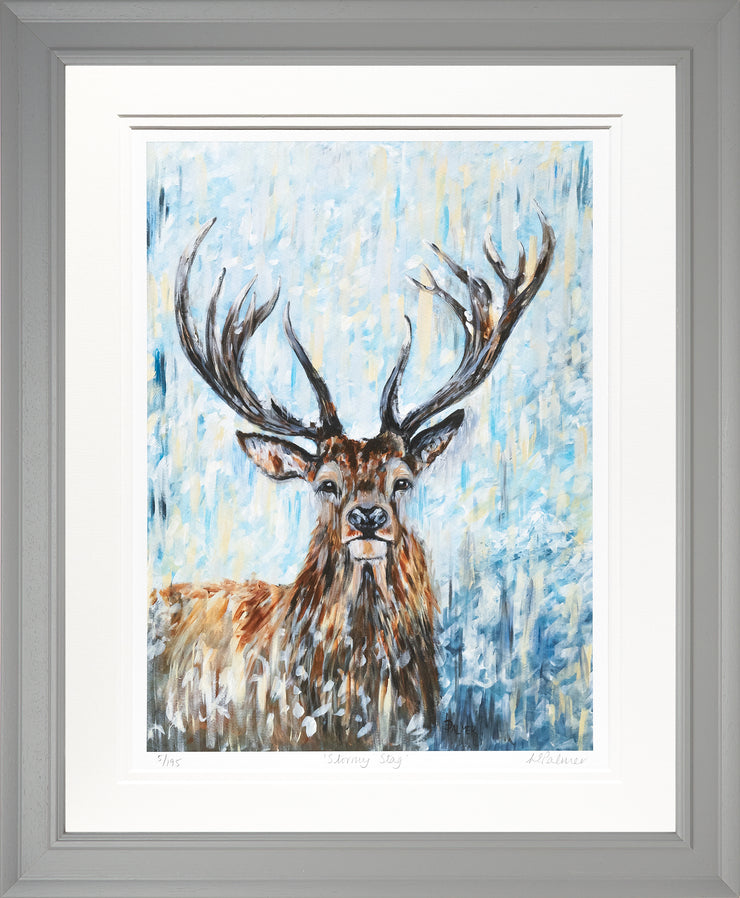 Stormy Stag Limited Edition Print by Lesley Palmer Framed Grey