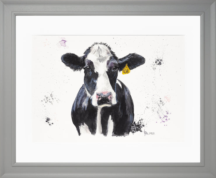 Dairy Daisy Limited Edition Print by Lesley Palmer Framed Grey