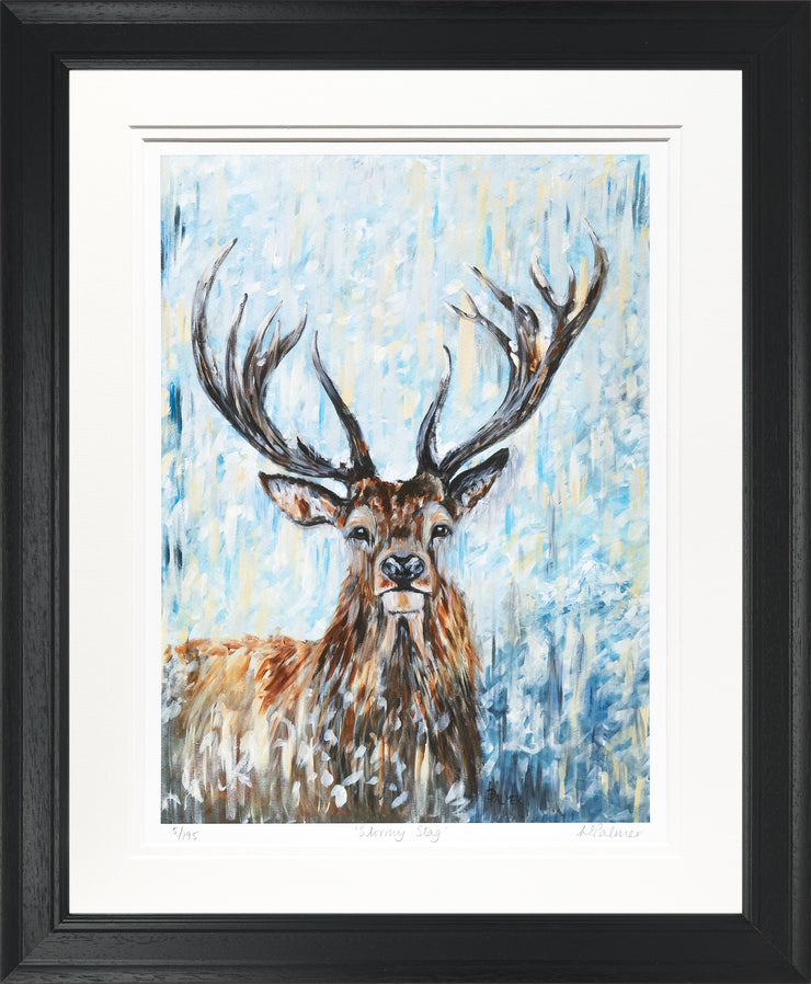 Stormy Stag Limited Edition Print by Lesley Palmer Framed Black