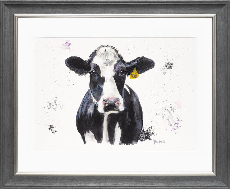 Dairy Daisy Limited Edition Print by Lesley Palmer Framed Grey Silver