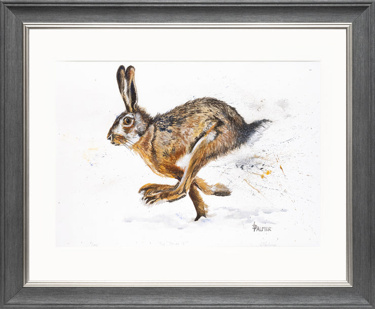 Tig! You're It! limited edition print by Lesley Palmer Framed Grey Silver