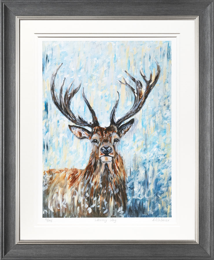 Stormy Stag Limited Edition Print by Lesley Palmer Framed Grey Silver