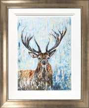Stormy Stag Limited Edition Print by Lesley Palmer Framed Bronze