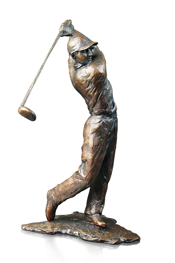 Golfer Solid Bronze Sculpture by Michael Simpson