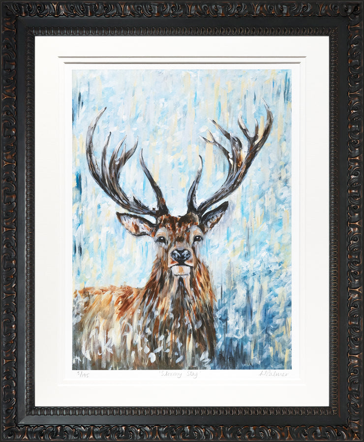 Stormy Stag Limited Edition Print by Lesley Palmer Framed Ornate Black