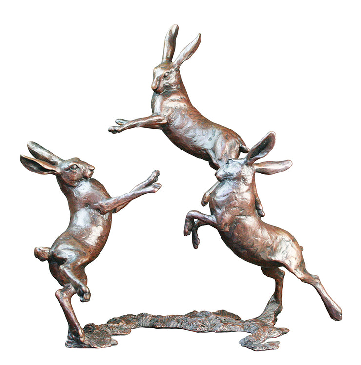 Medium Hares Playing Solid Bronze Sculpture by Michael Simpson