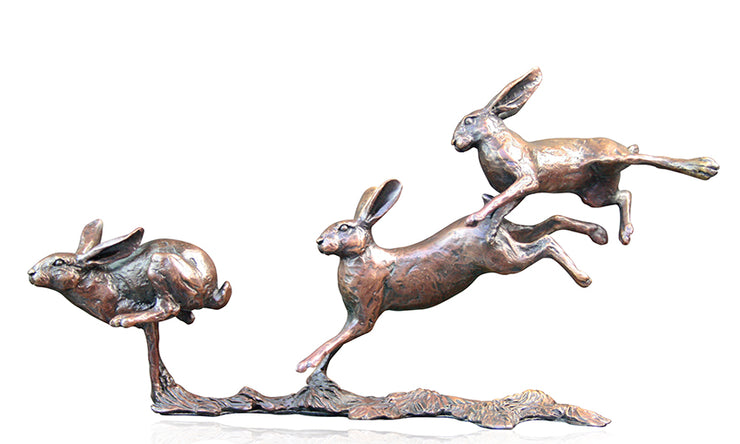 Small Hares Running Solid Bronze Sculpture by Michael Simpson