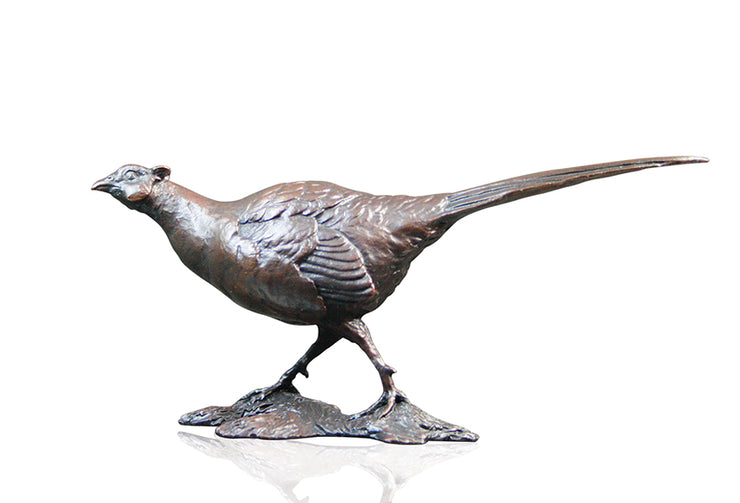Pheasant Solid Bronze Sculpture by Michael Simpson