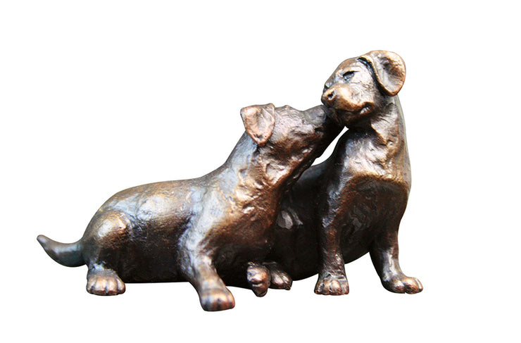 Small Labrador Puppy Pair Solid Bronze Sculpture by Michael Simpson