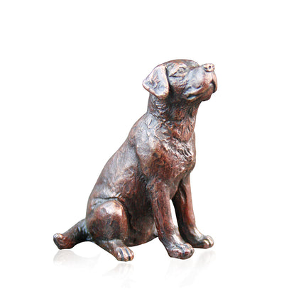 Small Labrador Sitting Solid Bronze Sculpture by Keith Sherwin