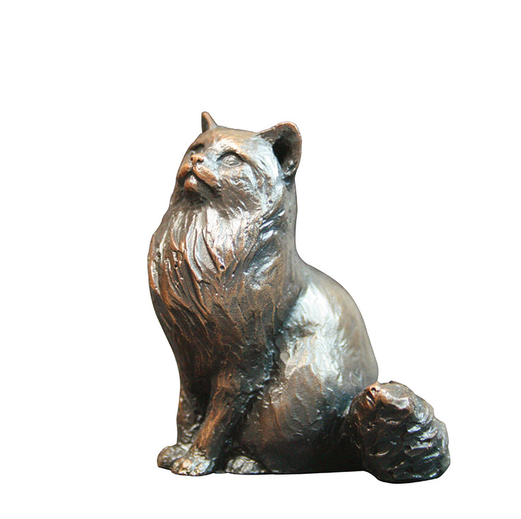 Small Cat Sitting Long Haired Solid Bronze Sculpture by Michael Simpson