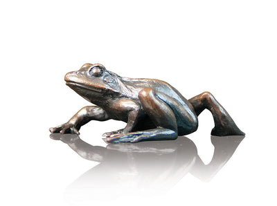 Small Frog Walking Solid Bronze Sculpture by Keith Sherwin
