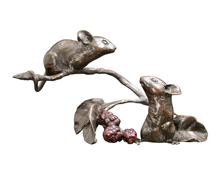 Mice with Berries Solid Bronze Sculpture by Michael Simpson