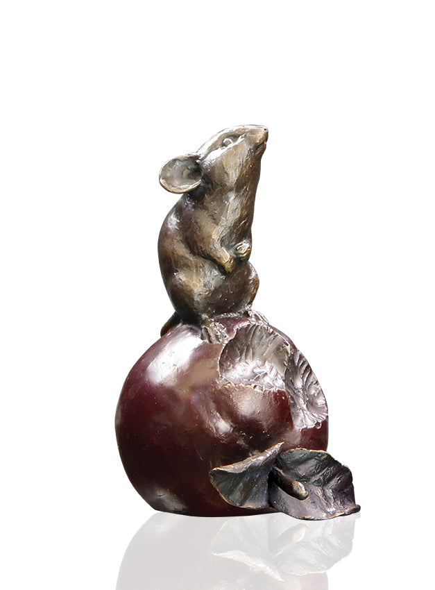 Mouse on Apple 956 Solid Bronze Sculpture by Michael Simpson
