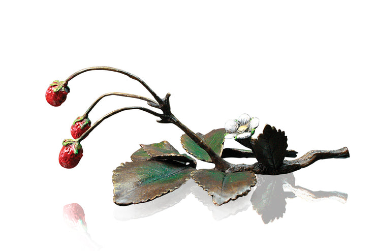 Wild Strawberries Solid Bronze Sculpture by Michael Simpson