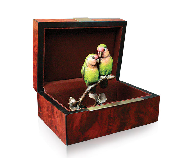 Lovebirds Solid Bronze Sculpture by Keith Sherwin