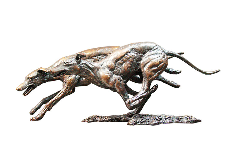 Greyhounds Solid Bronze Sculpture by Keith Sherwin