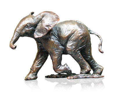 Baby Elephant Running Solid Bronze Sculpture by Keith Sherwin