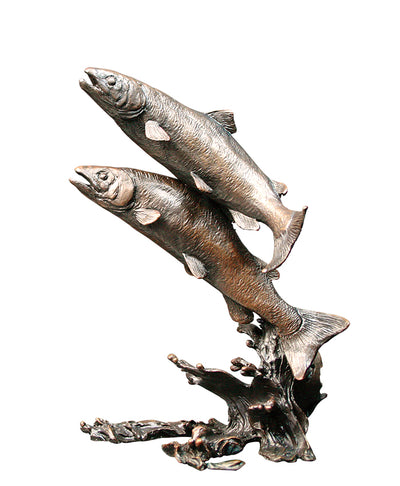 Salmon Pair Solid Bronze Sculpture by Keith Sherwin