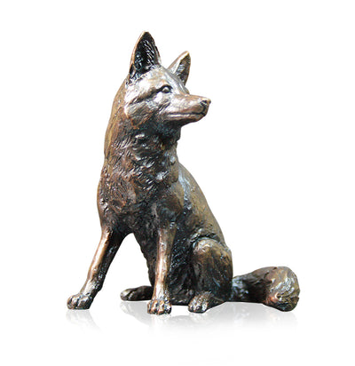 Fox Sitting Solid Bronze Sculpture by Keith Sherwin