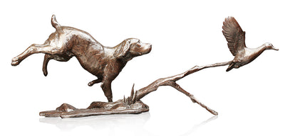 Cocker Spaniel with Duck Solid Bronze Sculpture by Michael Simpson