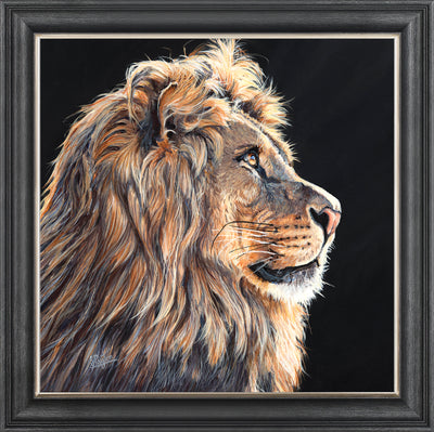 print 96cm x 96cm framed canvas board with textured gel finish includes frame as shown subject: lion